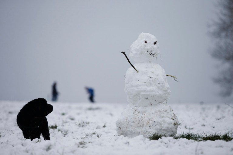 LONDON, ENGLAND - JANUARY 24: A dog and a snowman seen on Hampstead Heath on January 24, 2021 in London, United Kingdom. Parts of the country saw snow and icy conditions as arctic air caused temperatures to drop. (Photo by Hollie Adams/Getty Images)