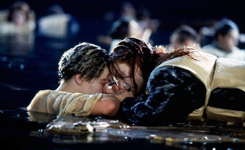 Leonardo DiCaprio and Kate Winslet as Jack and Rose in Titanic, 1997