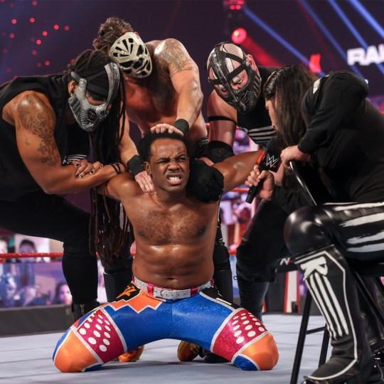 WWE superstars RETRIBUTION - Mustafa Ali, T-Bar, Slapjack and Mace - and The New Day star Xavier Woods on Raw