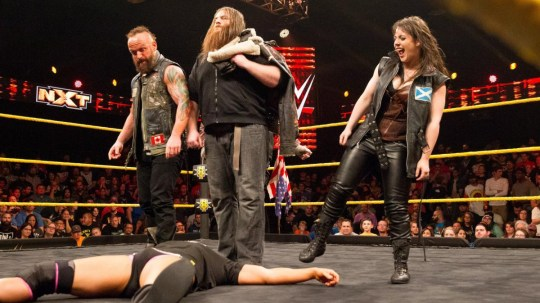 Former WWE and NXT star Eric Young with SAnitY teammates Nikki Cross and Killian Dain