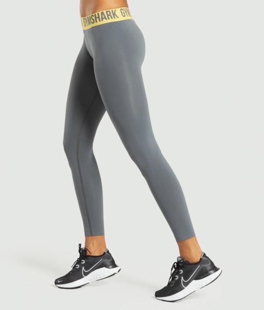 Gymshark grey and yellow trim seamless leggings