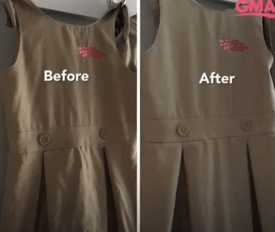Clothes before and after steaming