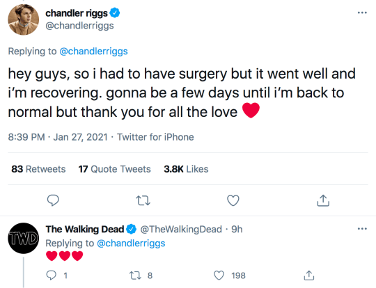 Chandler Riggs tweets about surgery in hospital