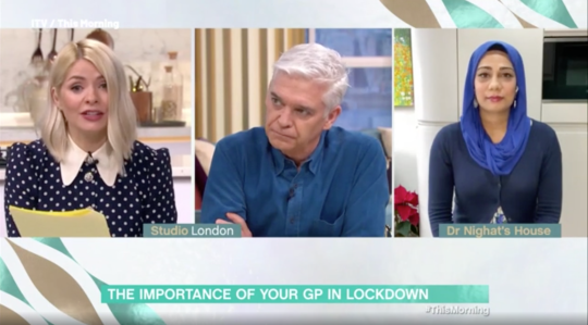 Holly Willoughby, Phillip Schofield and Dr Nighat Arif on This Morning (Picture: ITV)