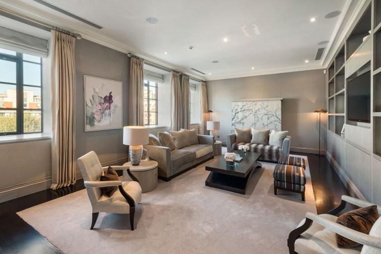 media room in duplex luxury apartment