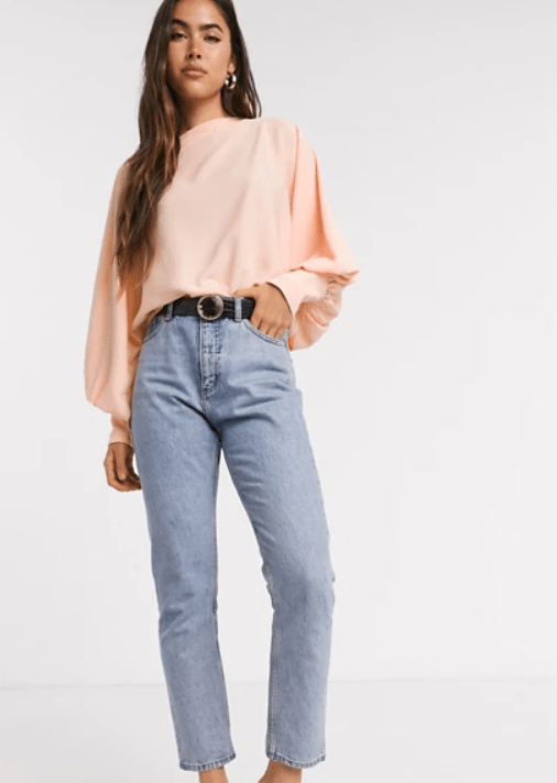 YAS slash neck blouse with volume sleeve in peach pink