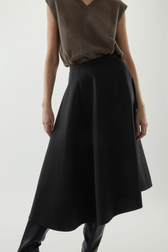 Black asymmetric skirt from Cos