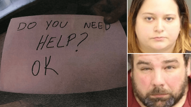 Handwritten note and mugshots of alleged abusers