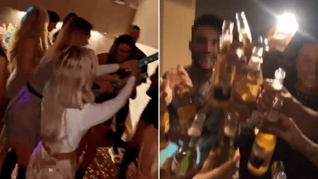 Four people have been fined for attending a flat party in Salford, Greater Manchester.