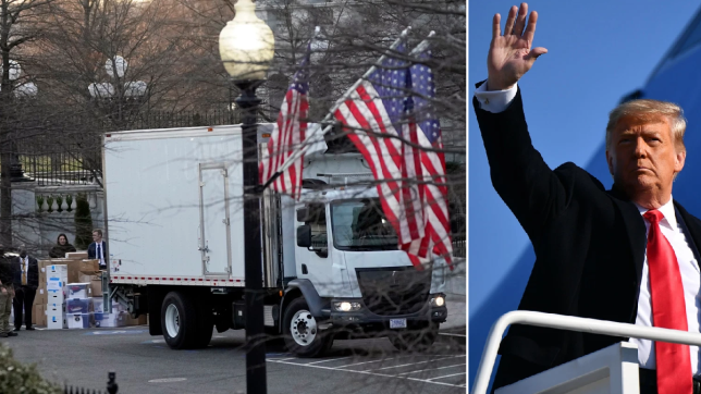 Removal van at White House and Donald Trump