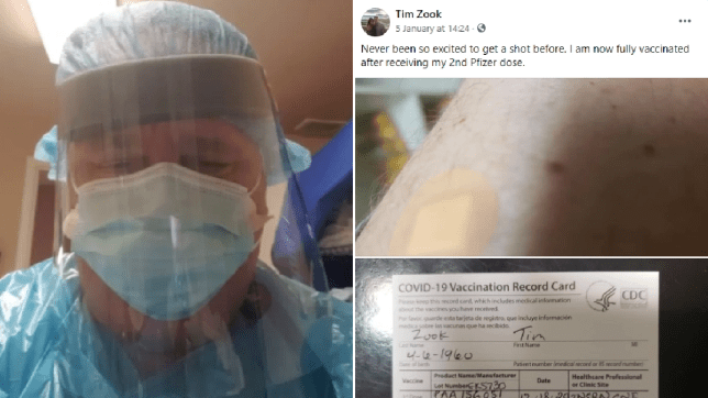 Man in PPE and screengrab of Facebook status about getting vaccine