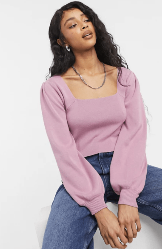 cotton on puff long sleeve top in pink
