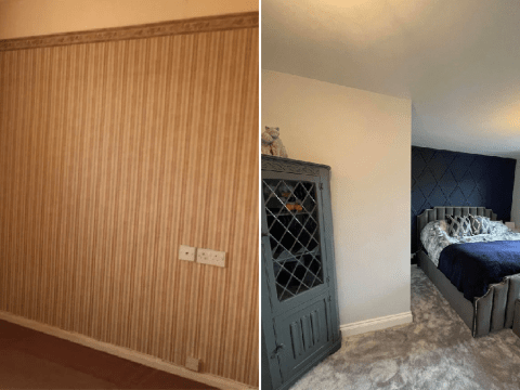 Couple creates hotel-style bedroom with unusual diamond panelling for £50