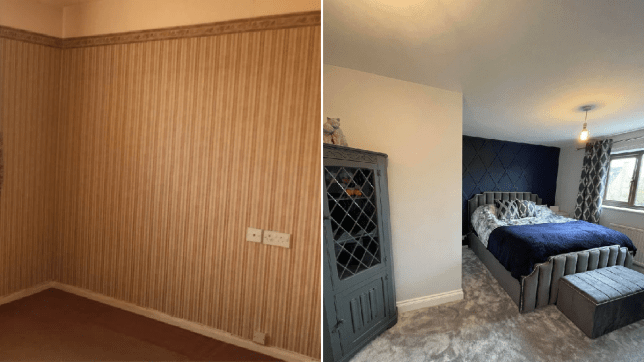 Gemma Ramsey's bedroom before and after comp