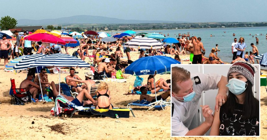 Picture of a beach in Greece and a woman receiving the vaccine