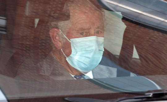Prince Charles with tears in his eyes as he leaves King Edward VII's hospital, in London, where his father Prince Philip is spending his sixth day.