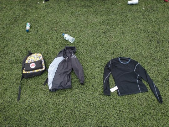 A shirt and bag were left discarded on the pitch