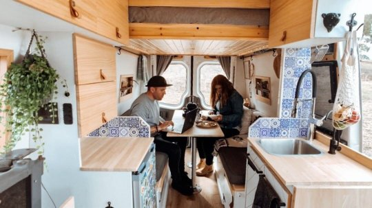 a Delivery van that was transformed to a holiday home on wheels