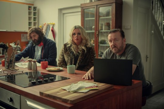 Joe Wilkinson as Postman, Roisin Conaty as Roxy and Ricky Gervais as Tony in Netflix's After Life