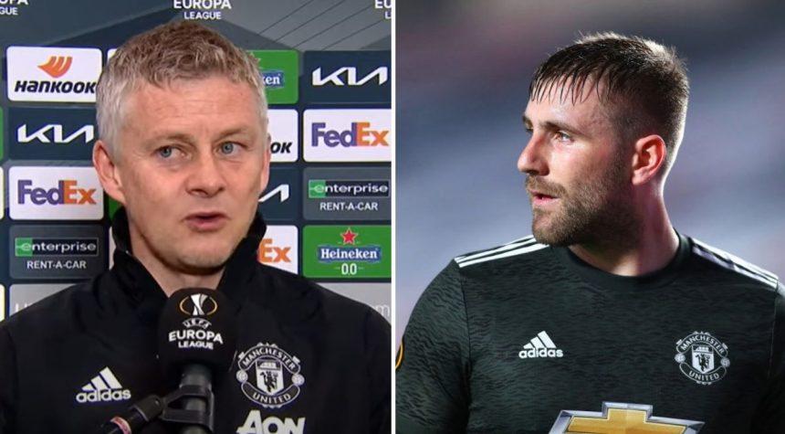 Ole Gunnar Solskjaer subbed off Manchester United defender Luke Shaw at half-time