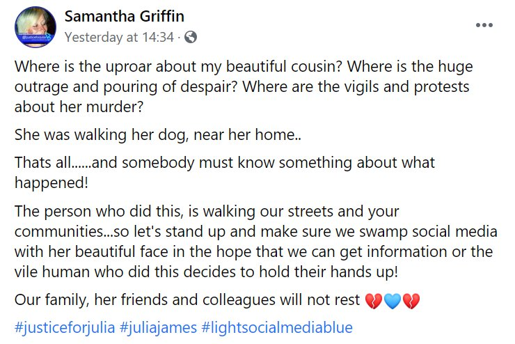 Facebook post by Samantha Griffin