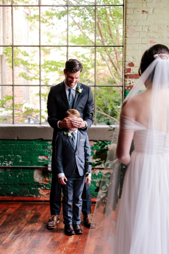 These images show the delightful moment that ten-year-old Jew Seabolt burst into tears after seeing his new stepmother Rebekah Seabolt in her wedding dress at her wedding to his father Tyler Seabolt.