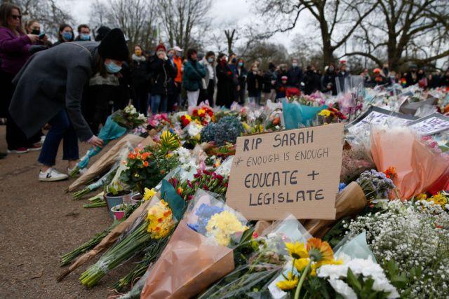 Floral tributes for Sarah Everard in Clapham Common