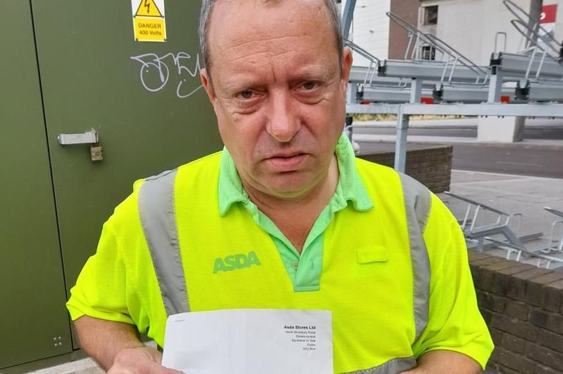 Asda has come under fire for sacking a disabled worker for smoking after he worked at the same store for 30 years. Mark Misell, pictured, worked for the supermarket as a trolley porter at its store in Shoeburyness, Essex. Credit: GMB/EssexLive/BPM