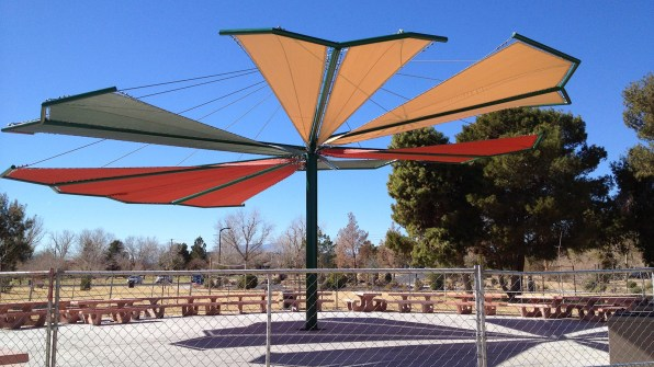 Custom shade sail structure by Metro Awnings & Iron, Las Vegas, Nevada