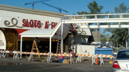 Custom Awning Under Construction - Slots of Fun - Las Vegas, NV