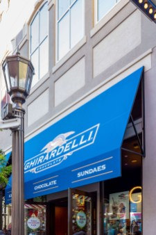 Close-up of Beautiful Custom Ghirardelli Chocolate Branded Awnings by Metro Awnings of Southern Nevada