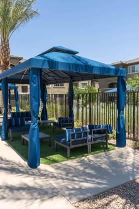 Level 25 Apartments - Custom Poolside Cabana Fabricated by Metro Awnings of Las Vegas, Nevada