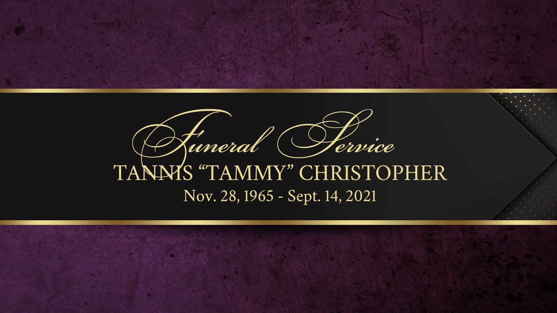 """Funeral Service   Tannis """"Tammy"""" Christopher"""