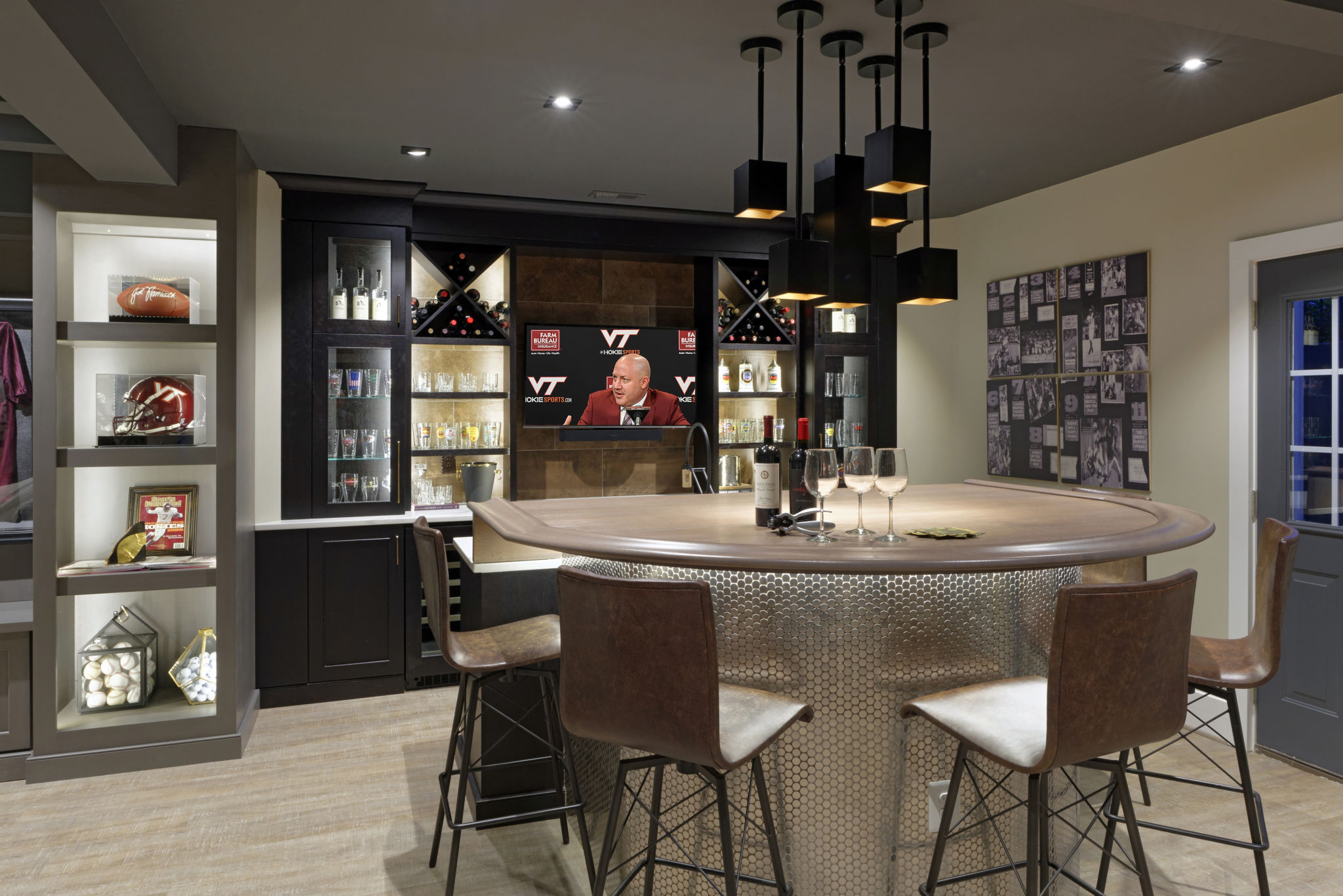 Sports Fan's Dream Finished Basement for Entertaining ... on Small Wet Bar In Basement  id=24816