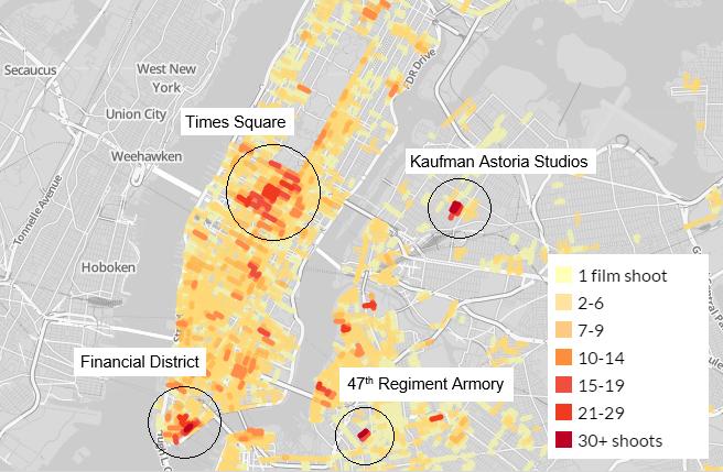 Film Map NYC Dense Locations