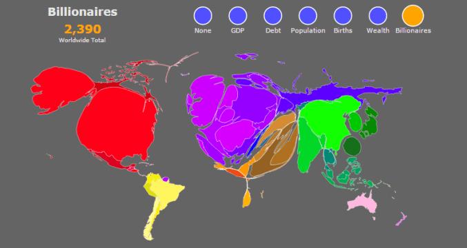Cartogram of the world