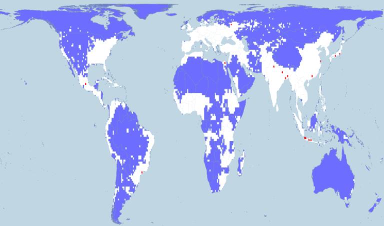 Equal Area Map of World Population Density