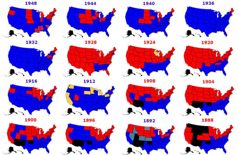 presidential election historical results 1888-1948