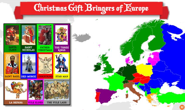 map of christmas gift givers