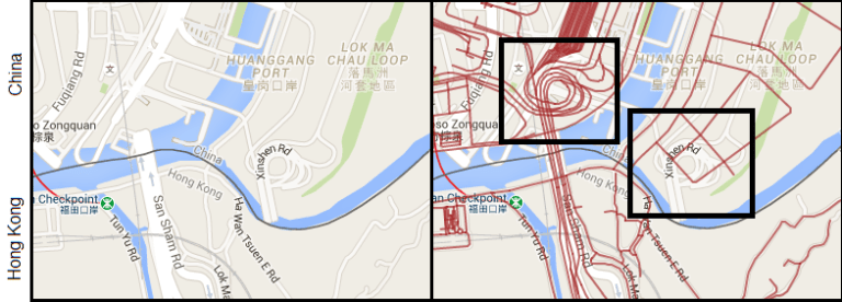 map china-hong kong border