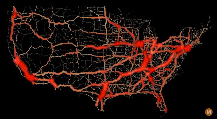 usa traffic flow map