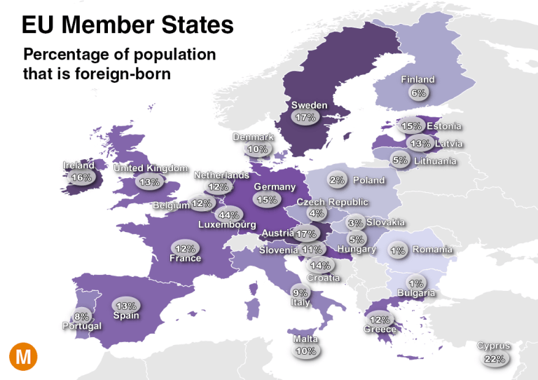 map of eu foreign born population percentage