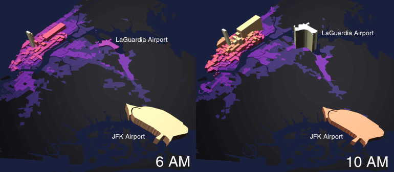 Map Of New York City Airports.Mapping The Hourly Volume Of Taxi Trips Across New York City Metrocosm
