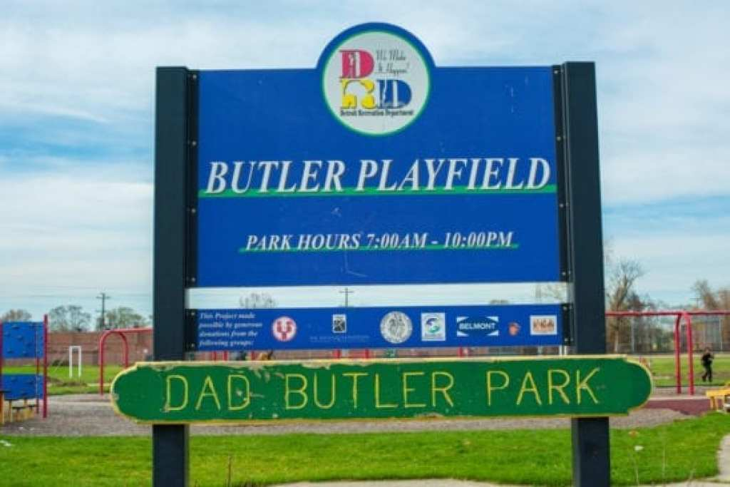 Dad Butler Park in Detroit Sign