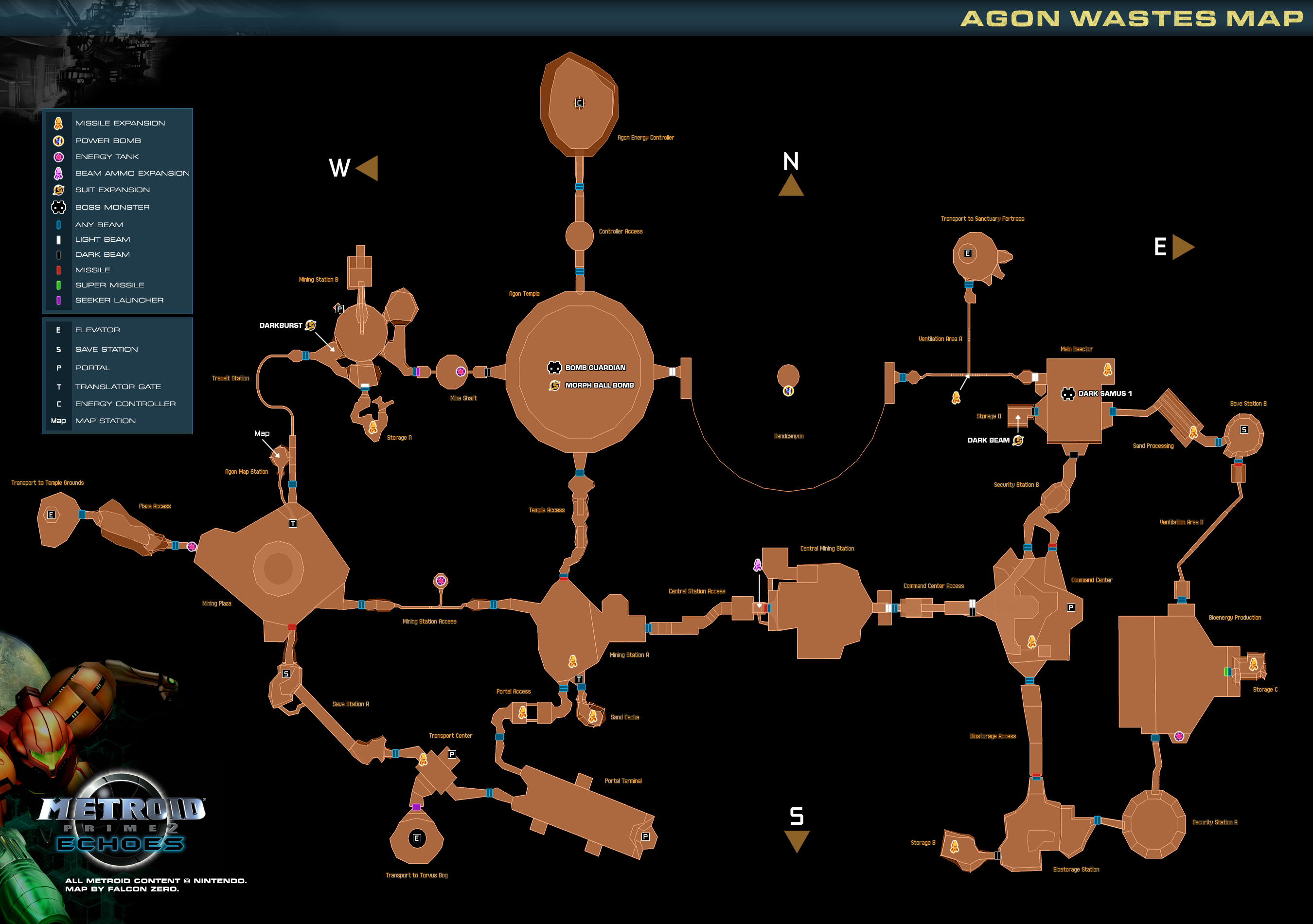 Game maps   Metroid Prime 2  Echoes  Metroid Recon  Agon Wastes