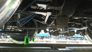 Laser Sensors Measure Lateral Position of Rail Bogie Wheels Relative To Track