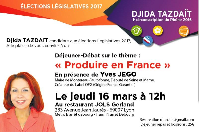Déjeuner débat Produire en France avec Yves Jego Djida Tazdait