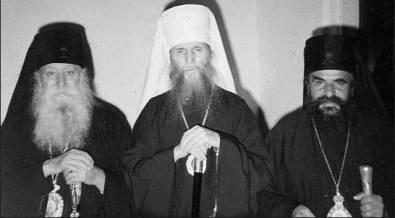 Sfântul Mitropolit Filaret al ROCOR dimpreună cu ierarhi ai celor două Sinoade Orthodoxe Tradiţionaliste ('vechi-calendariste') din Grecia, Calist al Corinthului ('florinit') şi Epifanie de Cipru ('mateit')