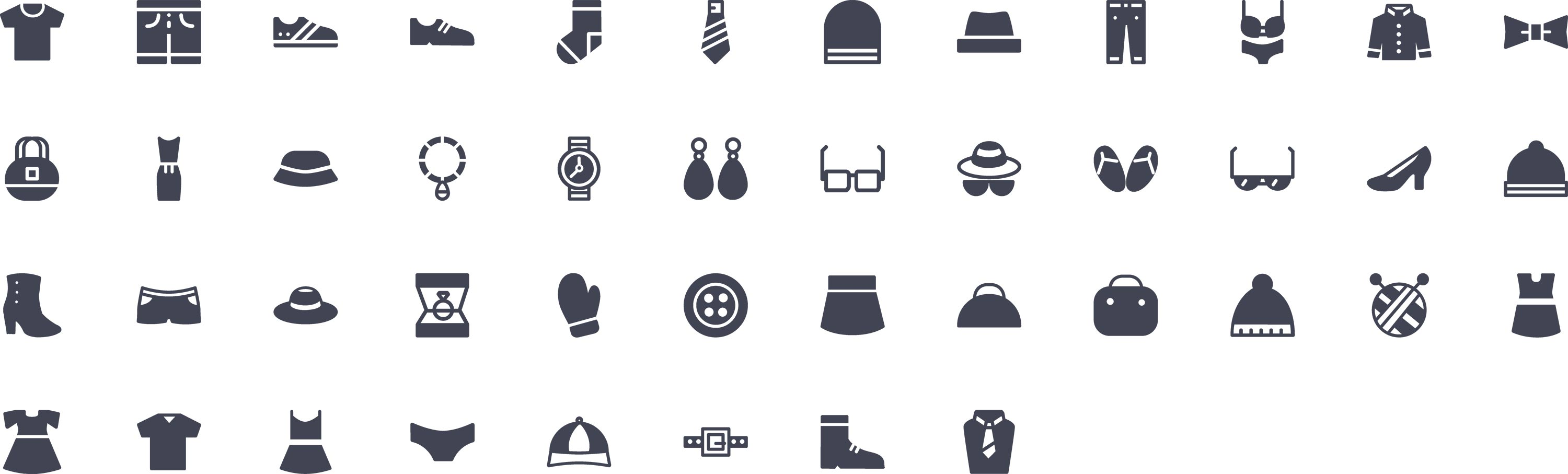 Clothes Glyph Icons
