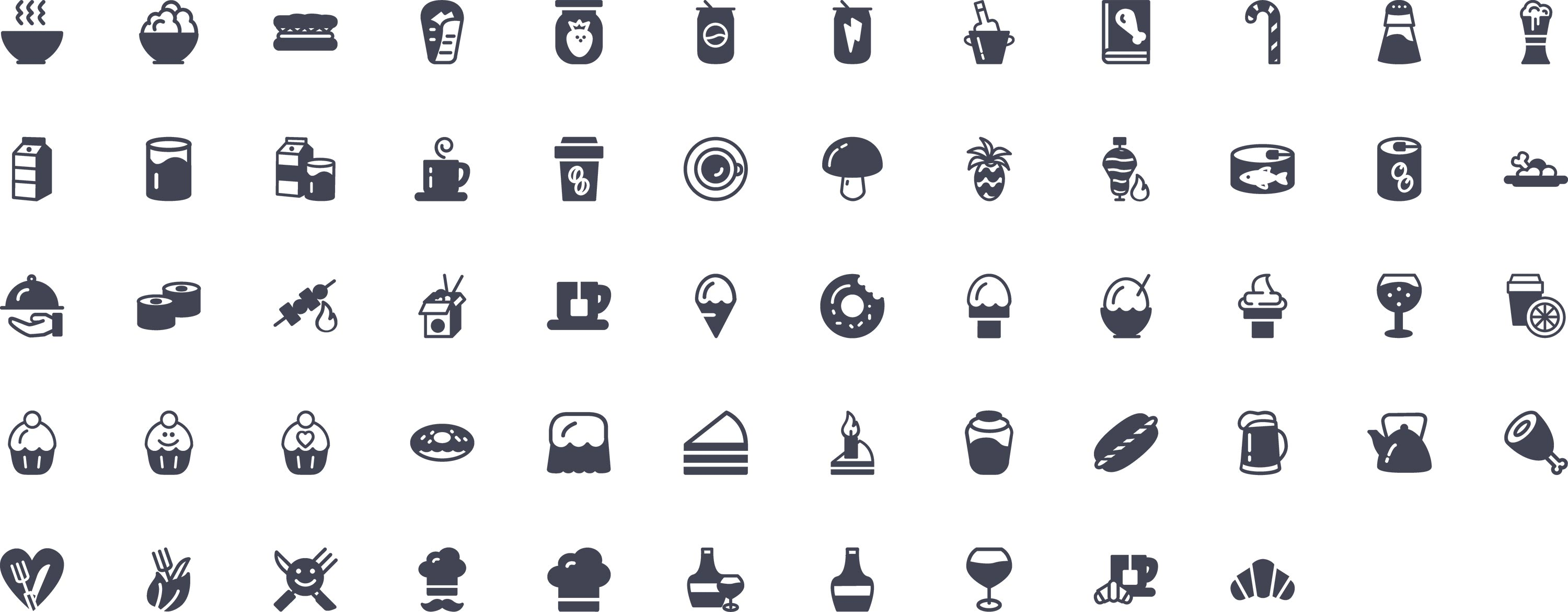 Food Glyph Icons